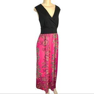 Peter Nygard Flower Print 2 Tone Maxi Dress